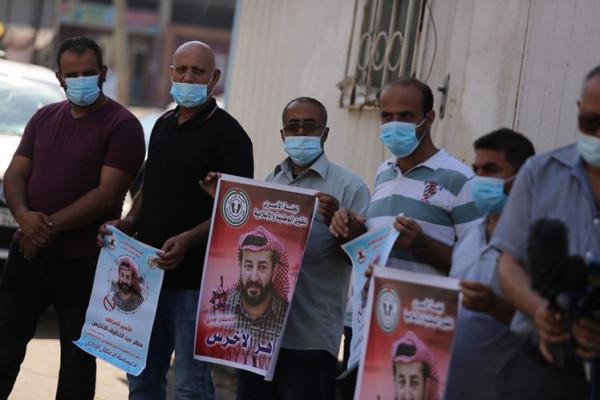 اعتصام إسنادي مع الأسير المضرب عن الطعام ماهر الأخرس في نابلس