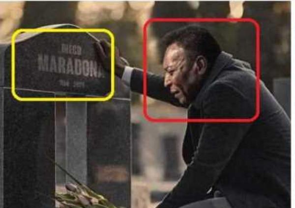 """حقيقة الصورة المؤلمة لـ""""بيليه"""" أمام قبر ماردونا"""