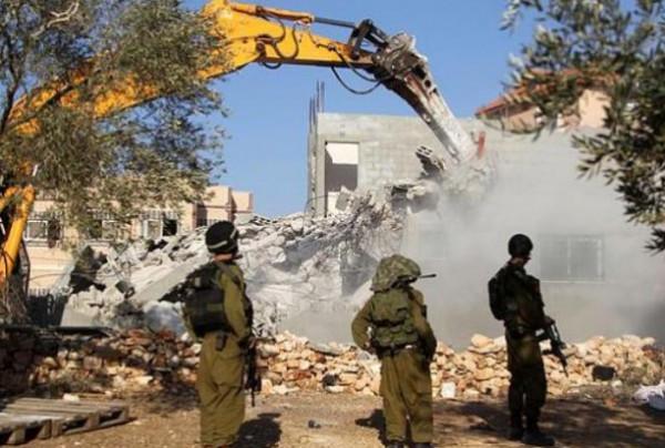 آليات الاحتلال تهدم معرشًا جنوب الخليل