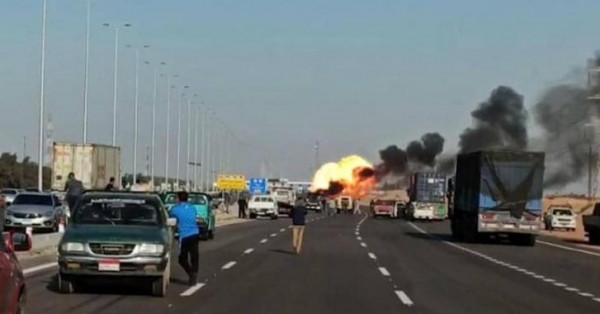 مصر.. انفجار أسطوانات غاز على طريق سريع بالاسماعيلية