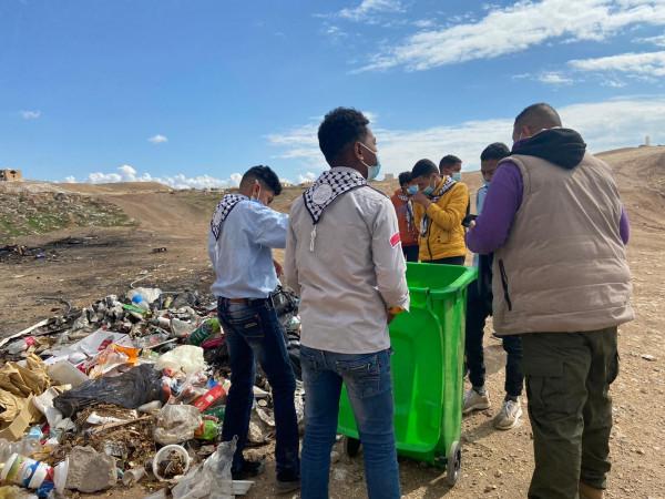 مجموعة كشافة ومرشدات فرسان فلسطين تنظم حملة تطوعية في مقام النبي موسى
