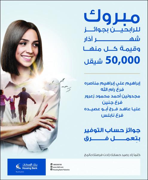 بنك الإسكان - فلسطين يعلن عن الفائزين بجوائز حسابات التوفير لشهر اذار 2021