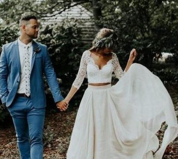 شاهدي: أجمل فساتين الزفاف العصرية بقطعتين لعروس 2021