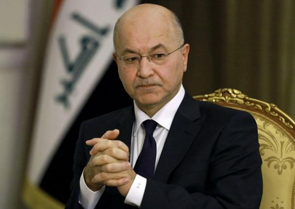 الرئيس العراقي يعلق على استهداف مطار أربيل