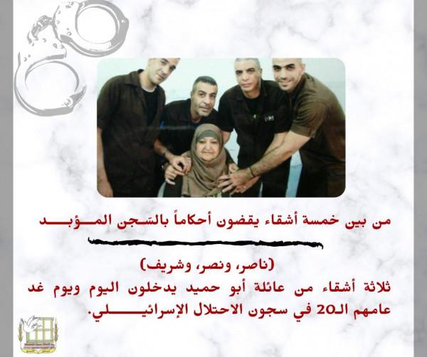 ثلاثة أشقاء أسرى من عائلة أبو حميد يدخلون عامهم الـ20 في سجون الاحتلال