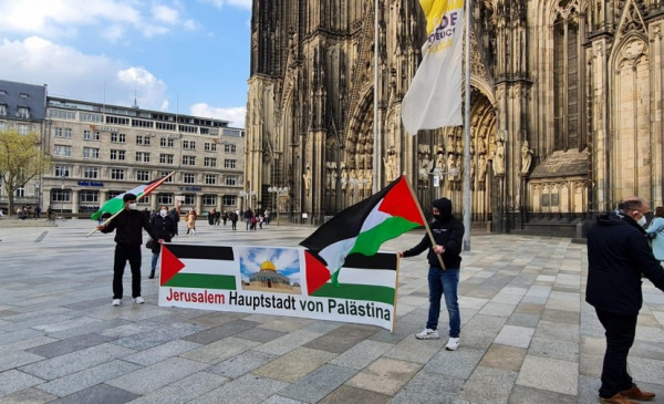 وقفة تضامنية مع مدينة القدس المحتلة في مدينة كولون في ألمانيا