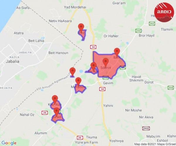 إطلاق ثلاثة صواريخ من قطاع غزة تجاه مستوطنات الغلاف