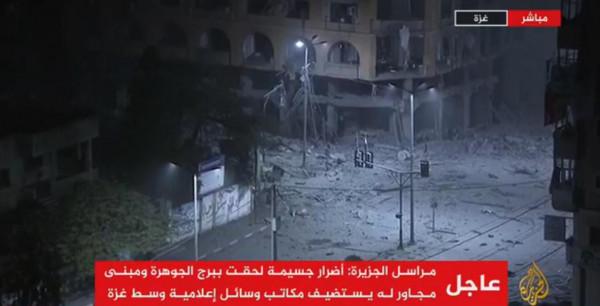 شاهد: طائرات الاحتلال تقصف برج الجوهرة وسط مدينة غزة بأربعة صواريخ