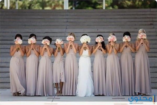 أجمل تنسيقات فساتين صديقات العروس