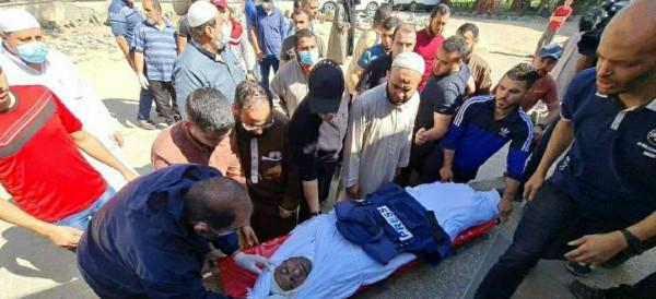 تشييع جثمان الشهيد الصحفي يوسف أبو حسين بمدينة غزة