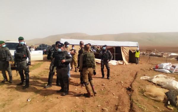 الاحتلال ينفذ عمليات هدم واسعة في خربة ابزيق بالأغوار الشمالية
