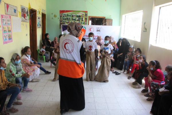 جمعية الهلال الأحمر تنظم برنامجا ترفيهياً بالمناطق النائية للتخفيف من آثار العدوان الإسرائيلي