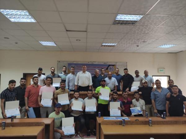 """اتحاد كمال الأجسام يختتم دورة """"إعداد مدربي اللياقة البدنية"""" للمستوى الأول بغزة"""