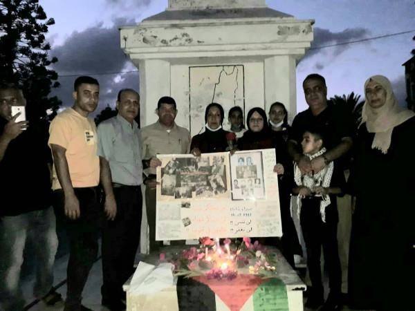 التجمع الفلسطيني للوطن والشتات يضئ الشموع بذكرى صبرا وشاتيلا أمام الجندي المجهول بمدينة غزة
