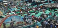 """صور: الالاف يشيعون قادة القسام """"العطار وبرهوم وابو شمالة"""" في جنازة مهيبة في رفح"""