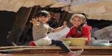 صور: أطفال خزاعة يحتفلون برأس السنة الهجرية فوق ركام منازلهم