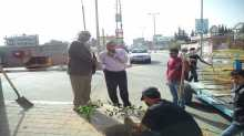 بمشاركة رئيس البلدية ا.محمد النجار بلدية المغازي تشجر مدخل شارع بهاء سعيد