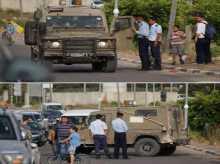 """شرطي فلسطيني يمنع دورية للجيش الاسرائيلي من دخول """"سلفيت"""" .. صور"""