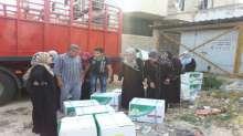 الحملة الوطنية السعودية توزع المواد الغذائية على السوريين النازحين في حلب
