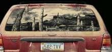 لوحات على زجاج السيارات
