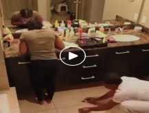 شاهد هلع ورعب إمرأة نفذ زوجها مقلب مرعب بها داخل الحمام