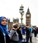 Muslim women form human chain across London's Westminster Bridge