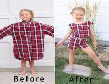 أم تحول ملابس زوجها القديمة إلى فساتين رائعة لابنتيها