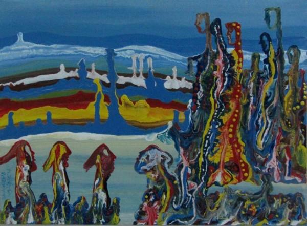 محمود شاهين يبحر في عالم الأزرق تشكيلياً