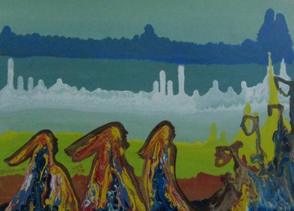 الروائي والفنان محمود شاهين في بعض أعماله الحديثة