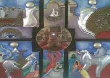 لوحات للفنانة رباب حرش تستلهم الدلالات الرمزية للموروث الشعبى المصرى