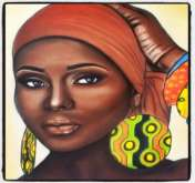 """لوحات سارة ظفر الله """"وجوه افريقية تحاور الإنسان والطبيعة"""""""