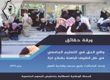 ورقة حقائق: واقع الحق في التعليم الجامعي في ظل الظروف الراهنة بقطاع غزة